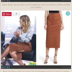 EUC Diane Von Furstenberg Midi Twill Pencil Skirt